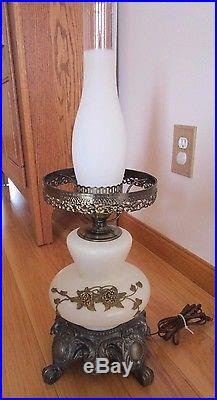 Vintage Hurricane Cream Glass Lamp Antique Gold Embossed Floral 23 Tall EUC