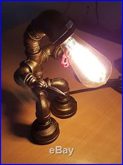 Vintage Industrial Style Metal Robot Pipe Table Desk Lamp Free Edison Bulb ST65