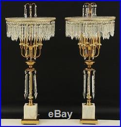 Vintage Italian Crystal Brass Marble Table Chandelier Candelabra Lamp Pair