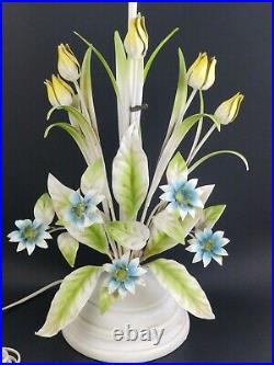 Vintage Italian Italy Mid Century Tulip Flower Metal Tole Toleware Table Lamp