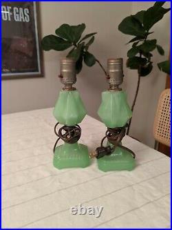 Vintage Jadeite table lamps pair