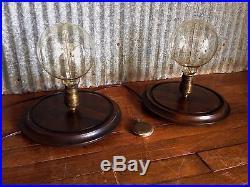 Vintage LARGE Specimen Display Lamp Pair Bell Jar UNIQUE MATCHING PAIR! Edison