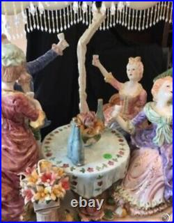 Vintage Lamp Capodimonte Italian Large Porcelain Figurine Table Lamp