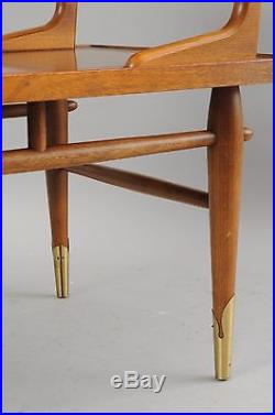 Vintage Lane Mid Century Modern Step Up End Table Lamp Side Brass Feet Walnut