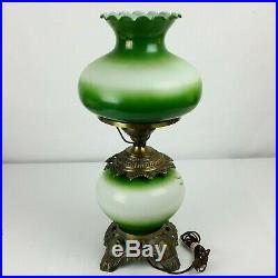 Vintage Large Green Hurricane Table Lamp GWTW Floral 3 Way 24 GORGEOUS