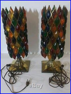 Vintage Lucite Table Lamp Chunky Diamonds Multi Color 60s 70s Retro