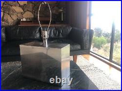 Vintage MCM 70s silver glam chic bedside table lamps manner of kelly wearstler