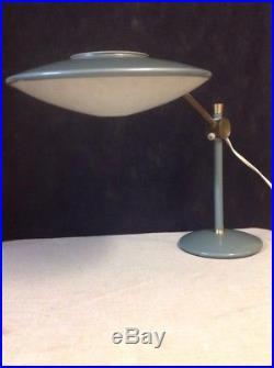 Vintage MCM Atomic 1950's UFO Flying Saucer Green Dazor Desk Lamp
