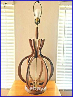 Vintage MCM Danish Modern Mid Century Walnut or Teak Huge Table Lamp Light