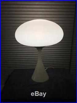 Vintage MCM Laurel Mushroom Lamp with Frosted Globe White Tulip Base
