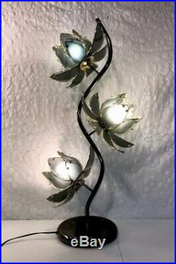 Vintage MCM Lotus 3 Flower Lamp Smokey Gray Glass Petals with Brass Leaves