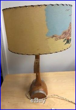 Vintage MCM Mid Century Modern Country Western Cowboy lamp, Yolk Wood Base 22