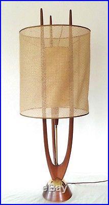 Vintage MCM Pearsall Modeline Danish Teak Wood Floor Table Lamp 40 Tall Tripod