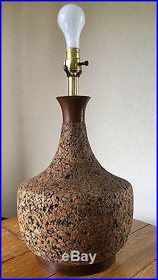 Vintage MID CENTURY MODERN CORK/TEAK TABLE LAMP/ 3-way light