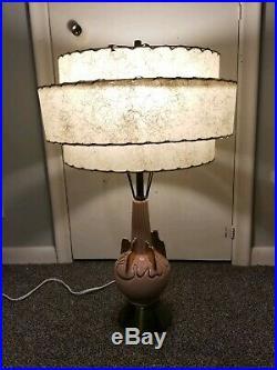 Vintage MID Century Modern Atomic Pink 3 Layered Fiberglass Shade Table Lamp