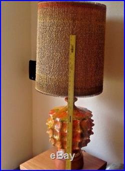 Vintage MID Century Modern Brutalist Lava Glaze Drip Table Lamp