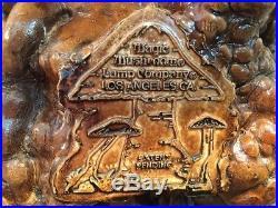 Vintage Magic Mushroom Lamp Company Los Angeles CA Table Lamp Coral Burl Look