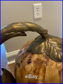 Vintage Maitland Smith 8190-17 Verdigris Brass Frog Prince Lamp Penshell Shade