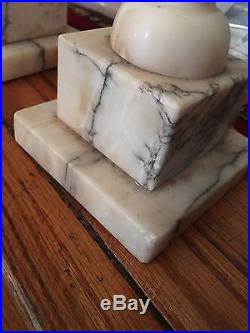 Vintage Matching Pair Art Deco Marble Lamps