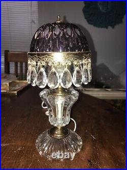 Vintage Michelotti Crystal Glass Prisms Boudoir Parlor Table Lamp 10 Tall