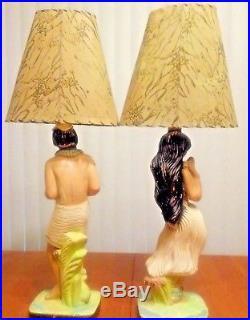 Vintage Mid-Century Aldan Tiki/Hawaiian/Polynesian Theme Chalkware Table Lamps