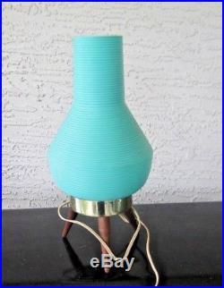 Vintage Mid-Century Atomic Beehive Tripod Lamp Table Boudoir 3 Legs Turquoise