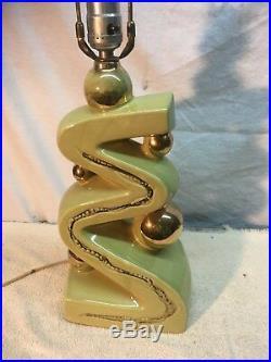 Vintage Mid Century Ceramic Lime Green 1950s Table Lamp ART DECO RETRO