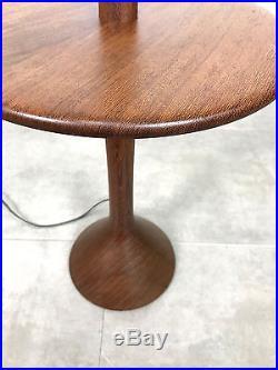 Vintage Mid Century Danish Modern Sculpted Teak Wood Floor Lamp with Side Table
