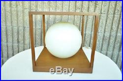 Vintage Mid Century Danish Modern Teak Smoked Lucite Cube Table Desk Lamp