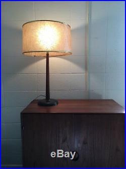 Vintage Mid Century Danish Modern Teak Wood Metal Base Table Lamp Fiberglass sh