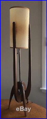 Vintage Mid Century Danish Modern Teak Wood Table Lamp high Cylinder Shade