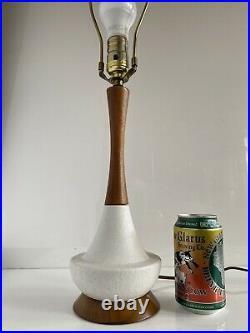 Vintage Mid Century Danish Modern Textured Ceramic Teak Table Lamp RARE SIZE