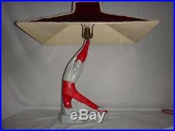 Vintage Mid Century Figural Japanese Table Lamp Fire Dancer Velvet Shade Ballet