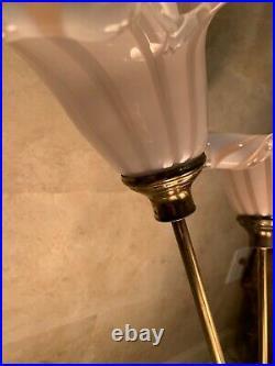 Vintage Mid Century Italian Murano Art Glass hand blown Calla Lilies Table Lamp