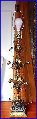 Vintage Mid-Century Italian Tole Gilt Floral on Marble Base 37 Table Lamp