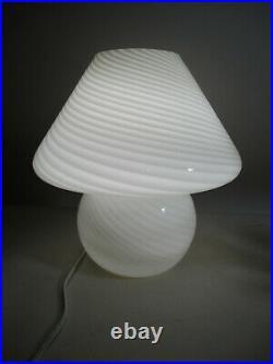 Vintage Mid Century Italy Vetri Murano Swirl Art Glass Mushroom Table Lamp