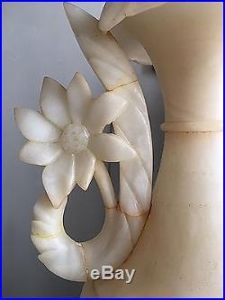 Vintage Mid Century Large 30 Tall Pair Urn Lamps Italian 60s Alabaster Flowers