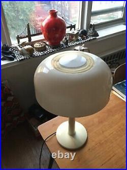 Vintage Mid Century Mod Thurston for Lightolier Saucer Mushroom Shade Table Lamp