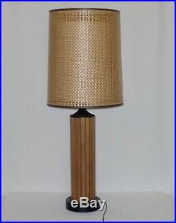 Vintage Mid Century Modern 36 GRUVWOOD Lamp Double Rattan Fiber Shade SZ LARGE