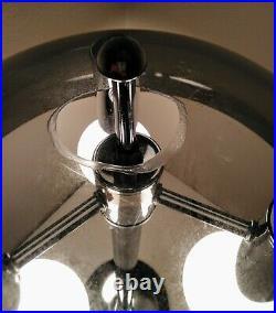 Vintage Mid Century Modern Atomic 3-Light Chrome Acrylic Mushroom Table Lamp 24
