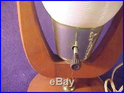 Vintage Mid-Century Modern Atomic Beehive LampWhite Plastic top / Walnut Base