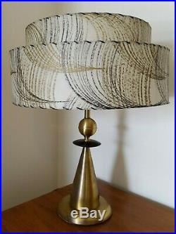 Vintage Mid Century Modern Atomic Table Lamp 2 tier Fiberglass Shade Eames