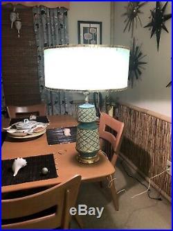 Vintage Mid Century Modern Blue Turquoise Teal Speckled Ceramic Table Lamp MCM