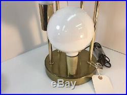 Vintage Mid Century Modern Brass Waterfall globe Table Lamp Light