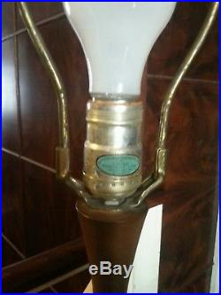Vintage Mid Century Modern Ceramic and teak or wood Table Lamp Retro footed base