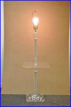 Vintage Mid Century Modern Clear Lucite Occasional Accent Floor Lamp Side Table