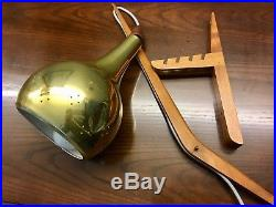 Vintage Mid Century Modern Danish Teak & Brass Wall Lamp Sconce
