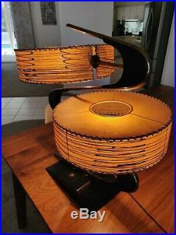 Vintage Mid Century Modern Majestic Boomerang Z Lamp Fiberglass Shades