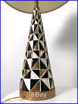 Vintage Mid Century Modern Mosaic Ceramic Table Lamp Black Gold Tye Calif 1950s