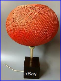 Vintage Mid-Century Modern Orange Basket Weave Spun Lucite Electric Table Lamp